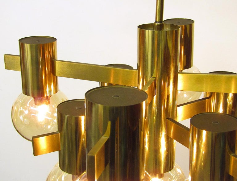 Geometric Swedish 1970s Chandelier in Brass and Glass by Hans-Agne Jakobsson For Sale 3