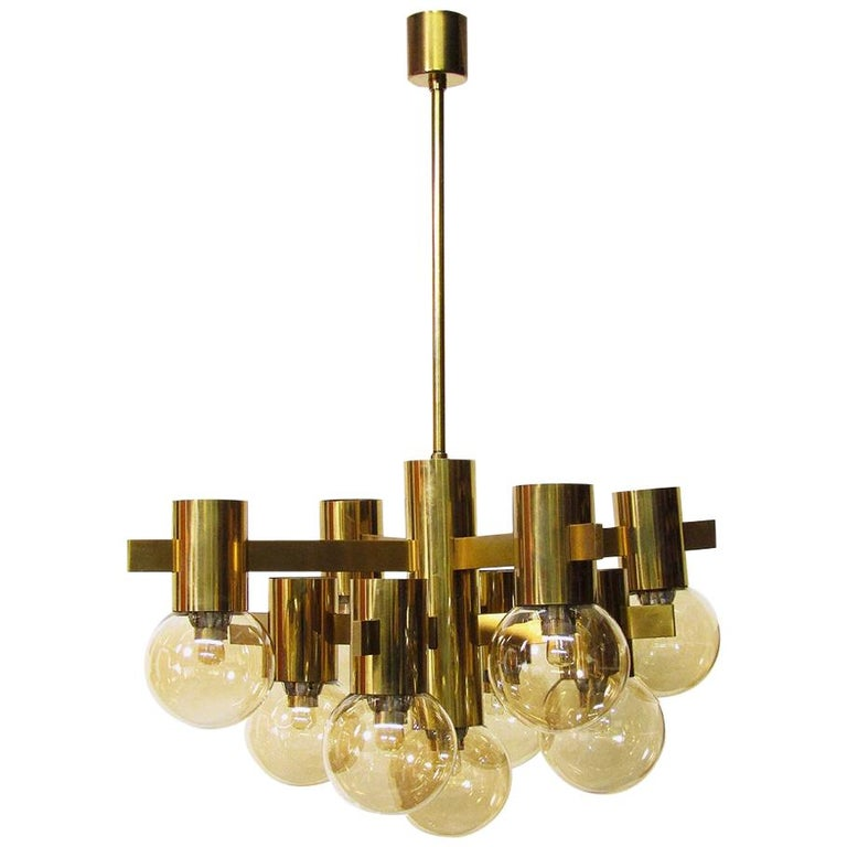 Geometric Swedish 1970s Chandelier in Brass and Glass by Hans-Agne Jakobsson For Sale