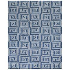 Geometric Swedish Inspired Handwoven Wool Rug
