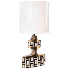 Geometric Table Lamp in Shagreen, Shell and Bronze Patina Brass by R&Y Augousti