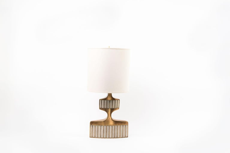 French Geometric Table Lamp in Shagreen, Shell and Bronze Patina Brass by R&Y Augousti For Sale