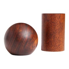 Geometric Teak Salt and Pepper Shakers