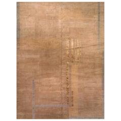 Geometric Tibetan Handmade Wool and Silk Rug in Beige and Brown