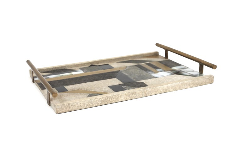 Art Deco Geometric Tray in Shagreen, Shell and Bronze Patina Brass by Kifu, Paris For Sale