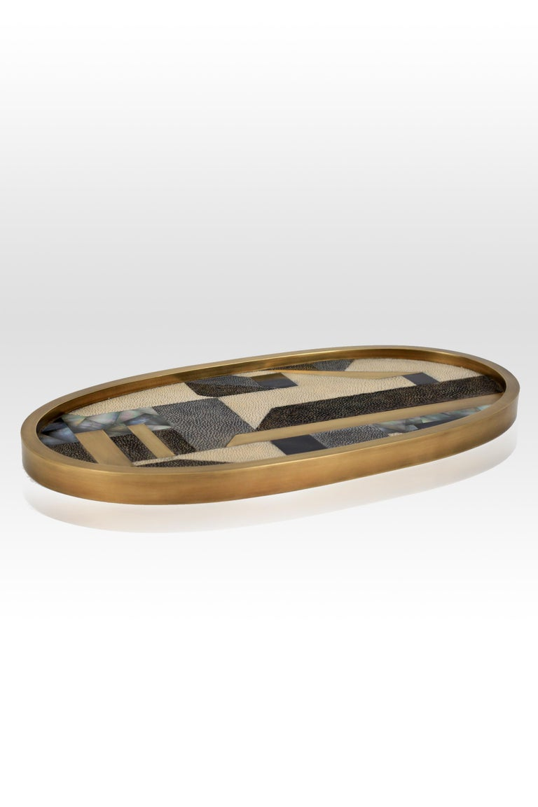 Hand-Crafted Geometric Tray in Shagreen, Shell and Bronze Patina Brass by Kifu, Paris For Sale