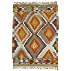 Geometric Turkish Kilim Flat-Weave, 20th Century