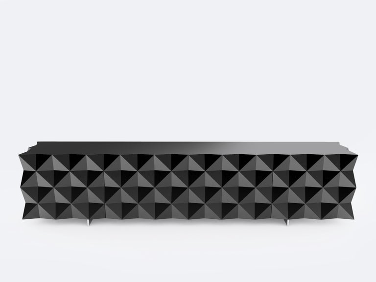 Lacquered Geometric Black TV Cabinet from Rocky Collection by Joel Escalona For Sale