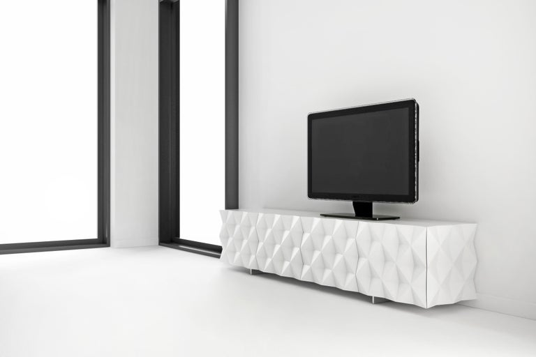Contemporary Geometric Black TV Cabinet from Rocky Collection by Joel Escalona For Sale