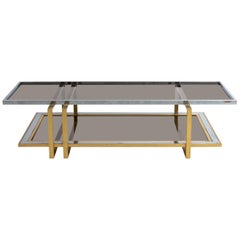 Geometric Two-Tier Brass and Nickel Coffee Table
