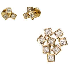 Geometric Unique Set, 18 Karat Gold 3 Diamond Earrings and 9 Diamonds Pendant