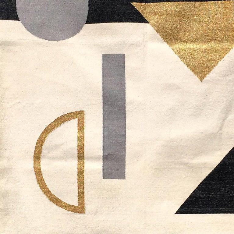 Indian Geometric Valerie Handwoven Modern Black & White Cotton Rug, Carpet & Durrie For Sale