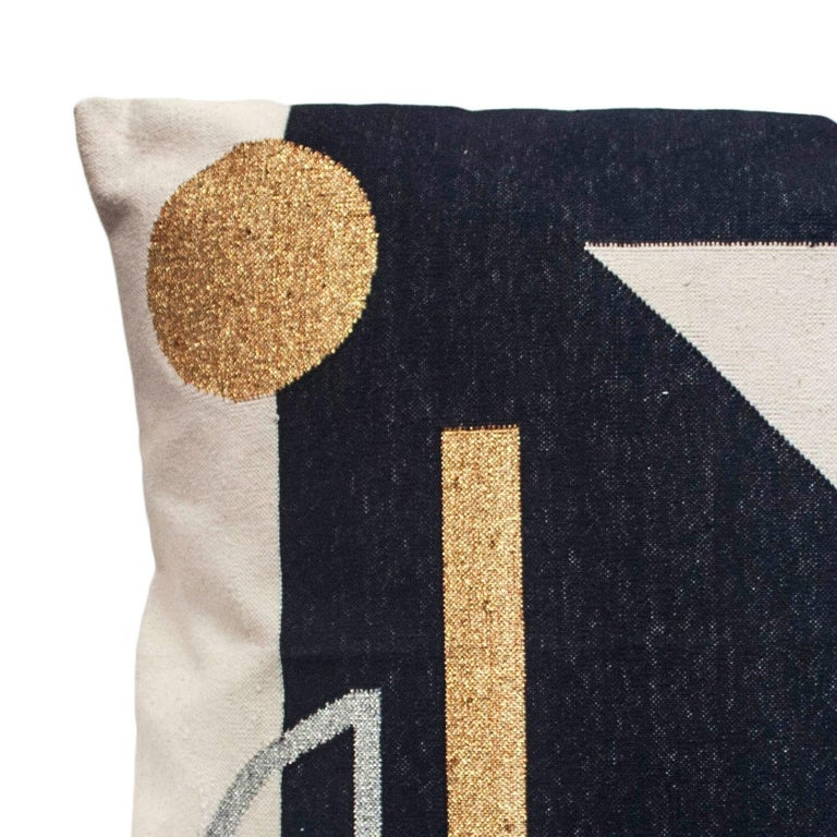 Indian Geometric Valerie Modern Throw Pillow Cover For Sale