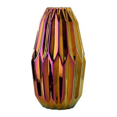 Geometric Vase with Iridescent Finish
