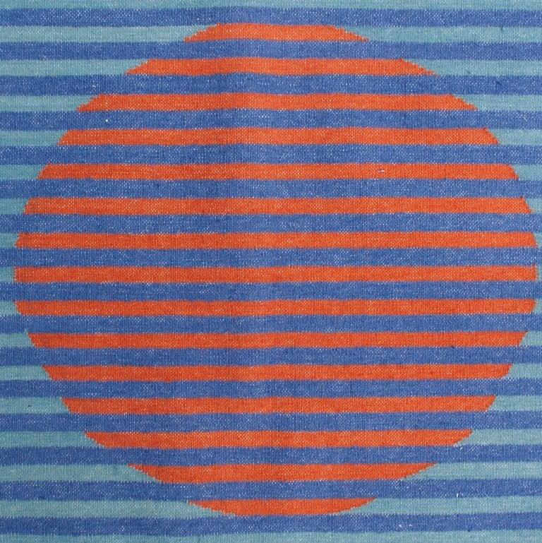 Geometric Vera Orange Handwoven Modern Wool Rug, Carpet and Durrie For Sale 1
