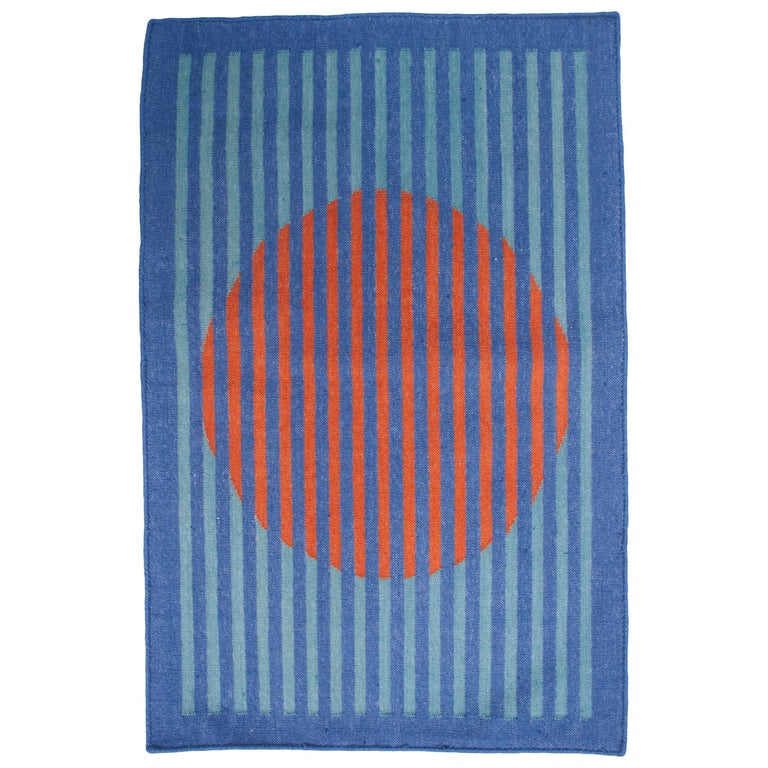 Geometric Vera Orange Handwoven Modern Wool Rug, Carpet and Durrie For Sale