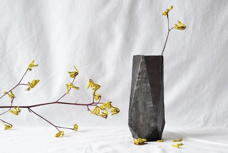 Modern Geometric Vessel Sculpture Handmade by J.M. Szymanski, Blackened and Waxed Iron For Sale