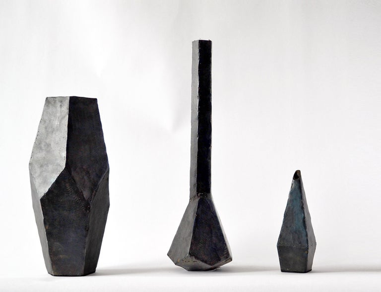 American Geometric Vessel Sculpture Handmade by J.M. Szymanski, Blackened and Waxed Iron For Sale