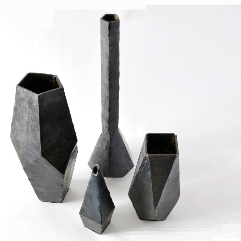 Carved Geometric Vessel Sculpture Handmade by J.M. Szymanski, Blackened and Waxed Iron For Sale