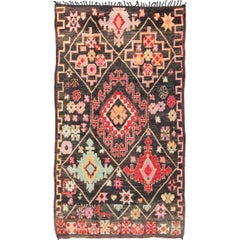 Geometric Vintage Moroccan Rug in Black, Red, Green and Salmon