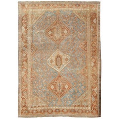 Geometric Vintage Persian Shiraz Rug with Tri-Medallion Design in Shades of Red