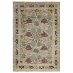 Geometric Vintage Tabriz Persian Rug. Size: 8 ft 3 in x 12 ft 2 in
