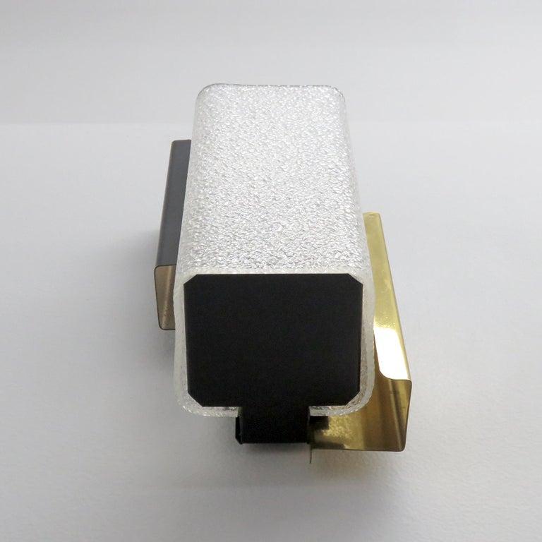 Brass Geometric Wall Light by Arlus For Sale