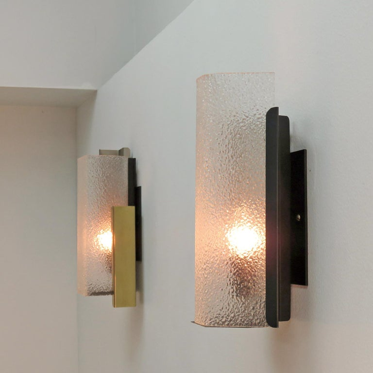 Metal Geometric Wall Sconce by Arlus For Sale