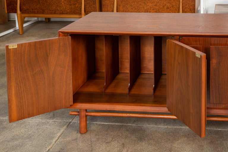 Geometric Walnut Credenza by Lane For Sale 6