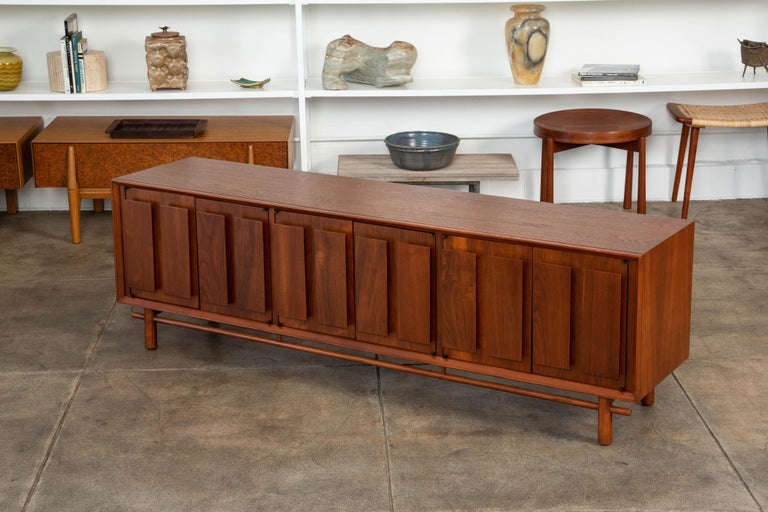Mid-Century Modern Geometric Walnut Credenza by Lane For Sale