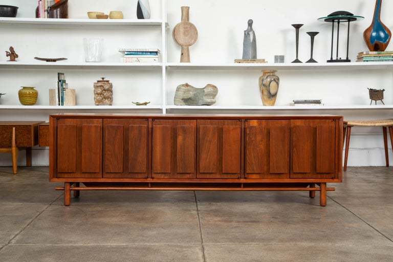 American Geometric Walnut Credenza by Lane For Sale