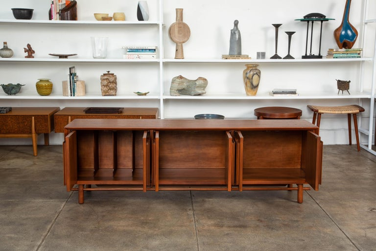 Geometric Walnut Credenza by Lane In Excellent Condition For Sale In Los Angeles, CA