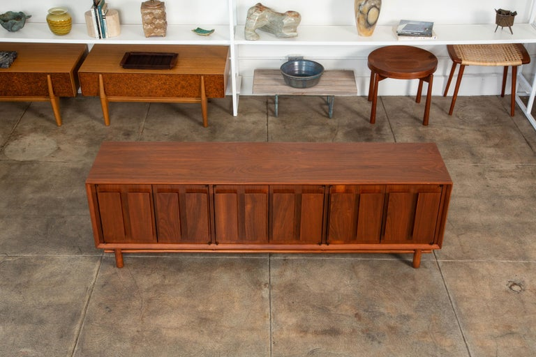 Mid-20th Century Geometric Walnut Credenza by Lane For Sale