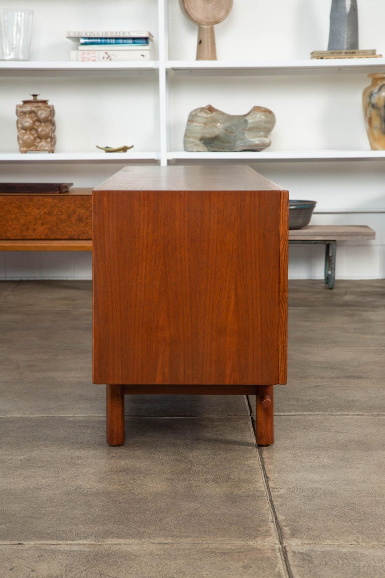 Geometric Walnut Credenza by Lane For Sale 1