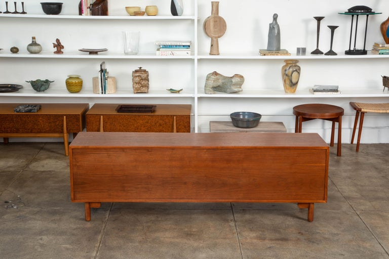 Geometric Walnut Credenza by Lane For Sale 2