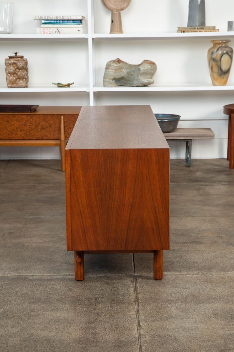 Geometric Walnut Credenza by Lane For Sale 3