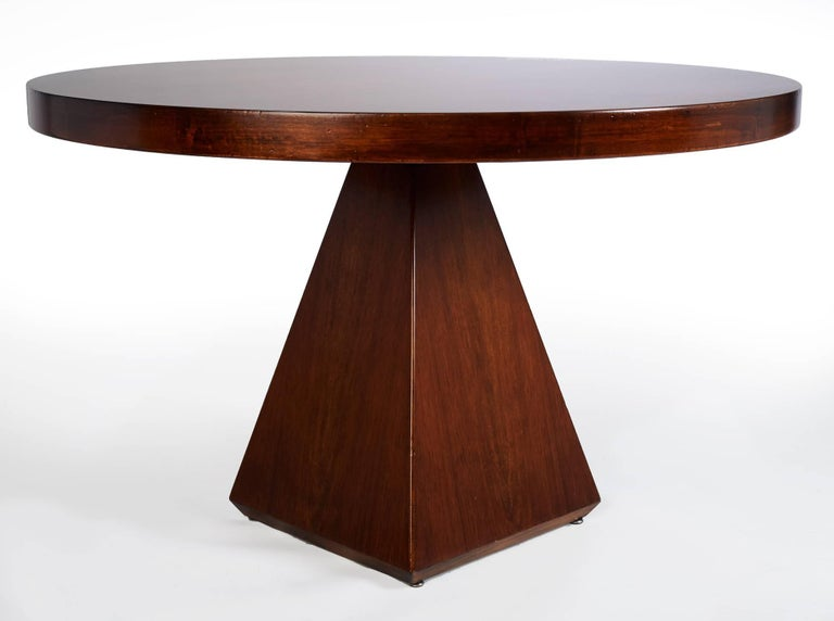 Mid-Century Modern Geometric Walnut Dining Table with Round Top by Vittorio Introini, Italy 1960's For Sale