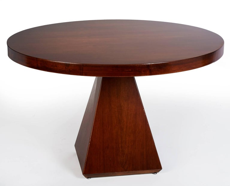 Italian Geometric Walnut Dining Table with Round Top by Vittorio Introini, Italy 1960's For Sale
