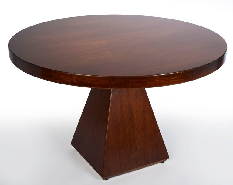 Geometric Walnut Dining Table with Round Top by Vittorio Introini, Italy 1960's In Excellent Condition For Sale In New York, NY