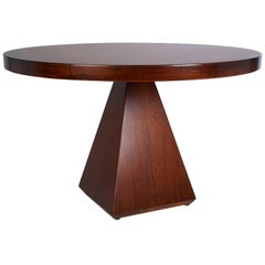 Vittorio Introini: Geometric Walnut Dining Table with Round Top, Italy 1960's