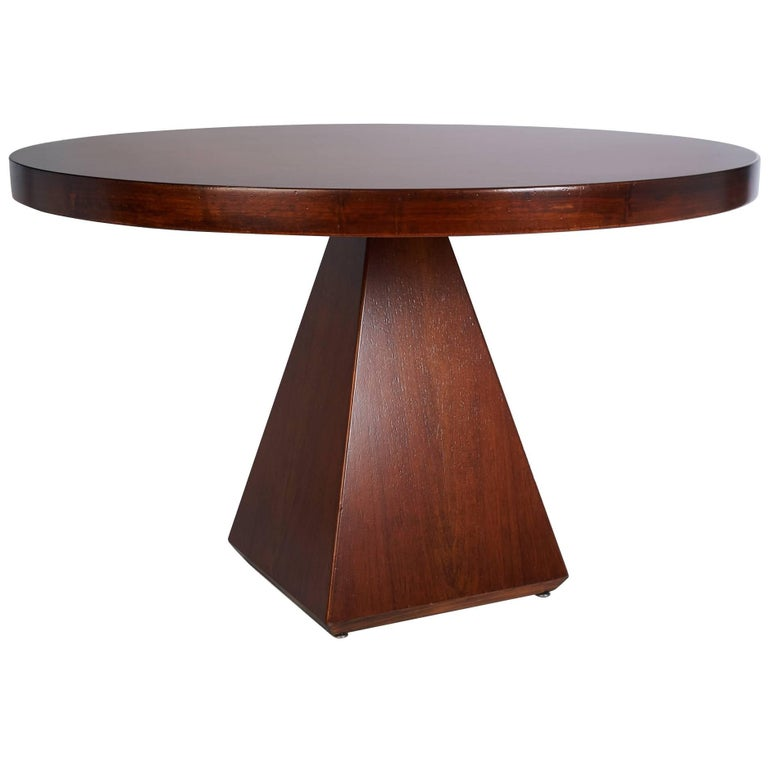 Geometric Walnut Dining Table with Round Top by Vittorio Introini, Italy 1960's For Sale