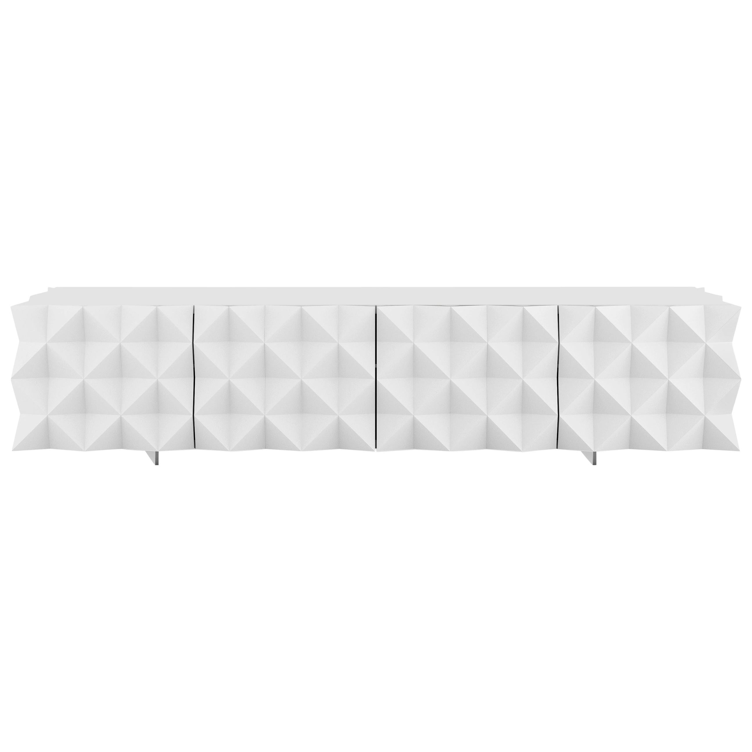 Geometric White TV Cabinet from Rocky Collection by Joel Escalona