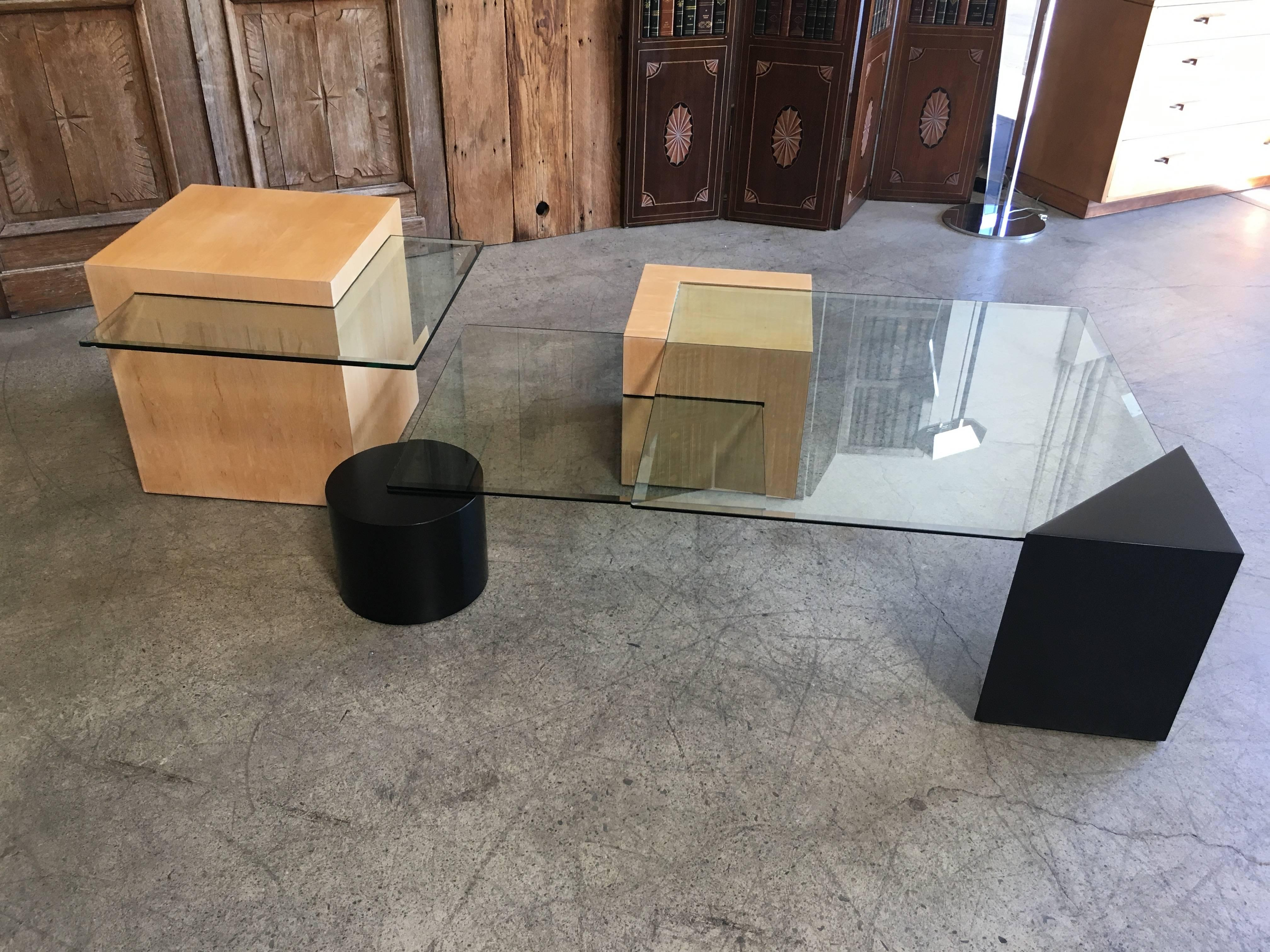 Wood And Metal Multi Level Coffee Table.Geometric Wood And Glass Multi Level Coffee Table