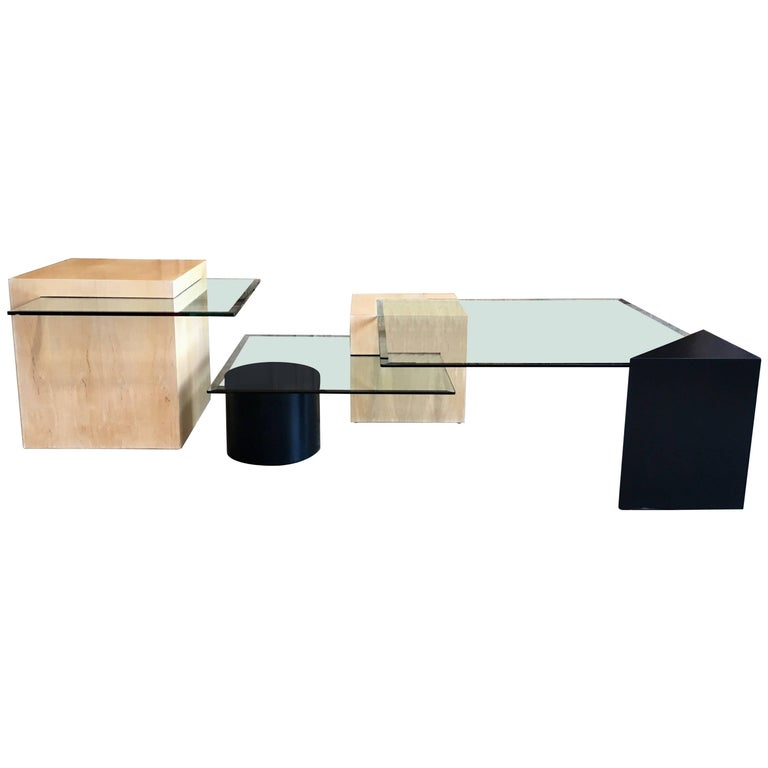 Geometric Wood And Glass Multi-Level Coffee Table For Sale