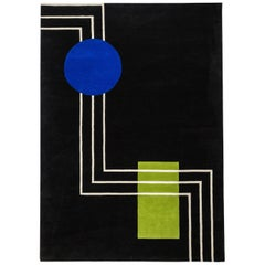 Geometric Wool Rug in black, blue, green  by Cecilia Setterdahl for Carpets CC