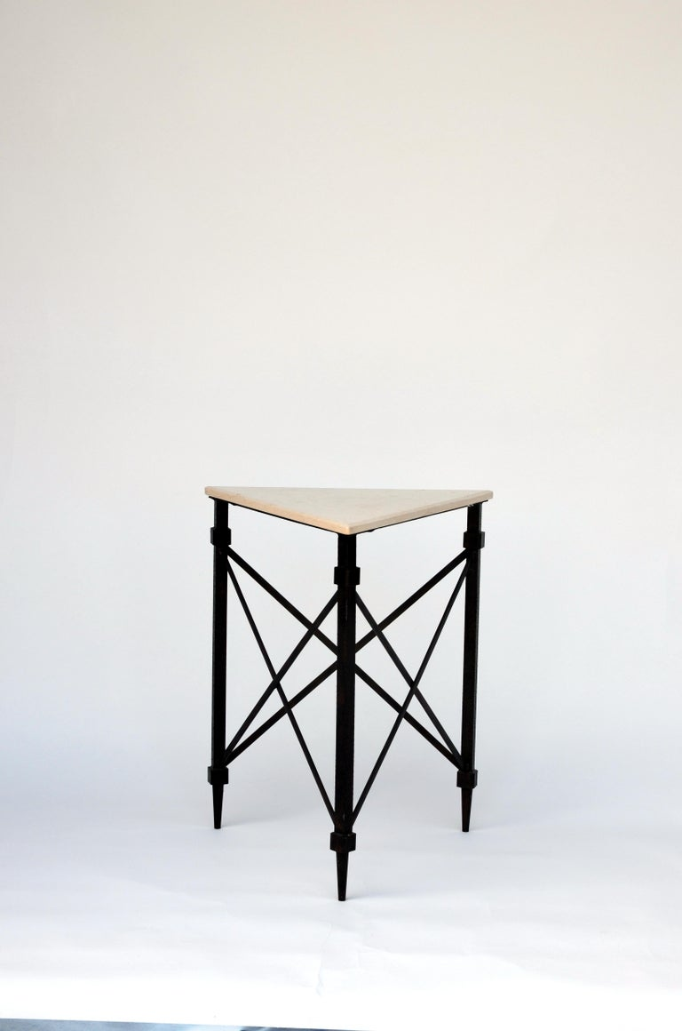 Geometric wrought iron and marble occasional table. Heavy, sturdy frame with polished cream marble top.