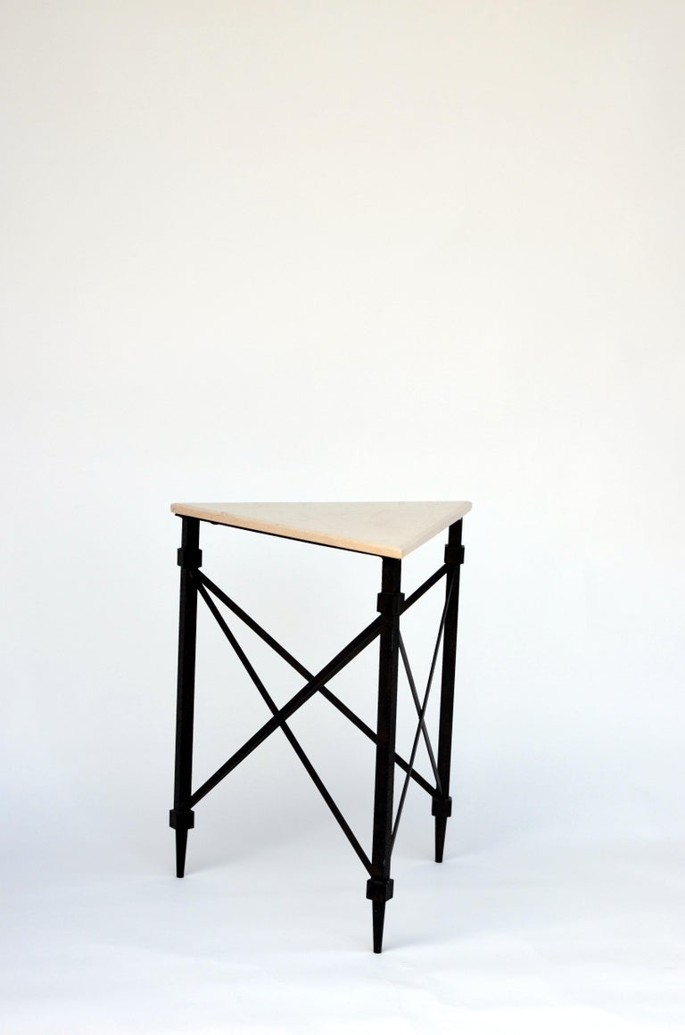 Neoclassical Geometric Wrought Iron and Marble Side Table For Sale