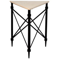 Geometric Wrought Iron and Marble Side Table