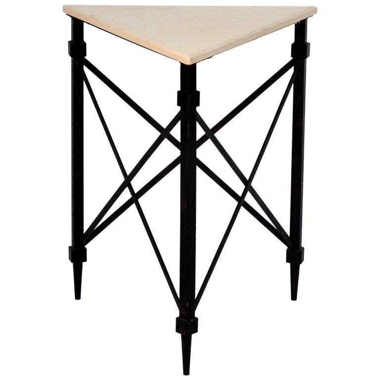 Geometric Wrought Iron and Marble Side Table For Sale