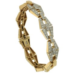 Geometrical Baguette Bracelet with Three Diamond Pave Sections