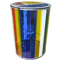 Cylindrical Belgian Colored Glass Lamp Made by Local Bruges Artist